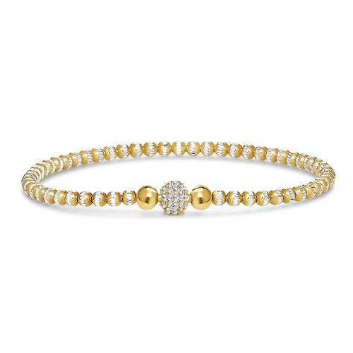 Four Keeps | 14K Yellow Gold & Sterling Silver Diamond Ball Bracelet | Style NO. 001-481-00019