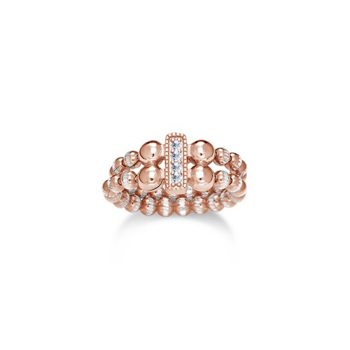 Four Keeps | 14K Rose Gold & Sterling Silver Diamond Vertical Bar Ring | Style No. 001-481-00022
