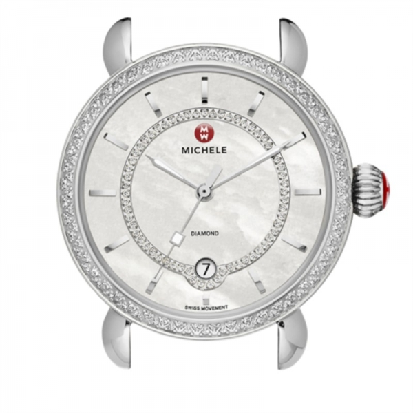 Michele CSX Elegance Collection | Chrome Watch with Mother of Pearl Face | Style No 001-608-02925