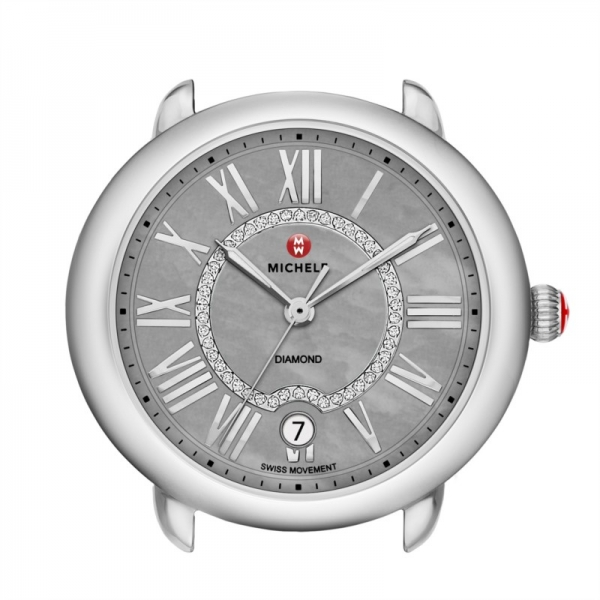 Michele Serein 16 Collection | Chrome Watch with Diamond Accents | Style No. 001-608-03214
