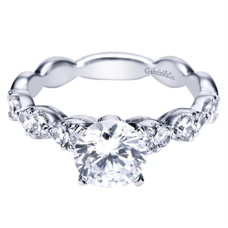 Gabriel & Co. | 14K White Gold Diamond Engagement Ring | Style No. 001-652-00002 ER3990W44JJ