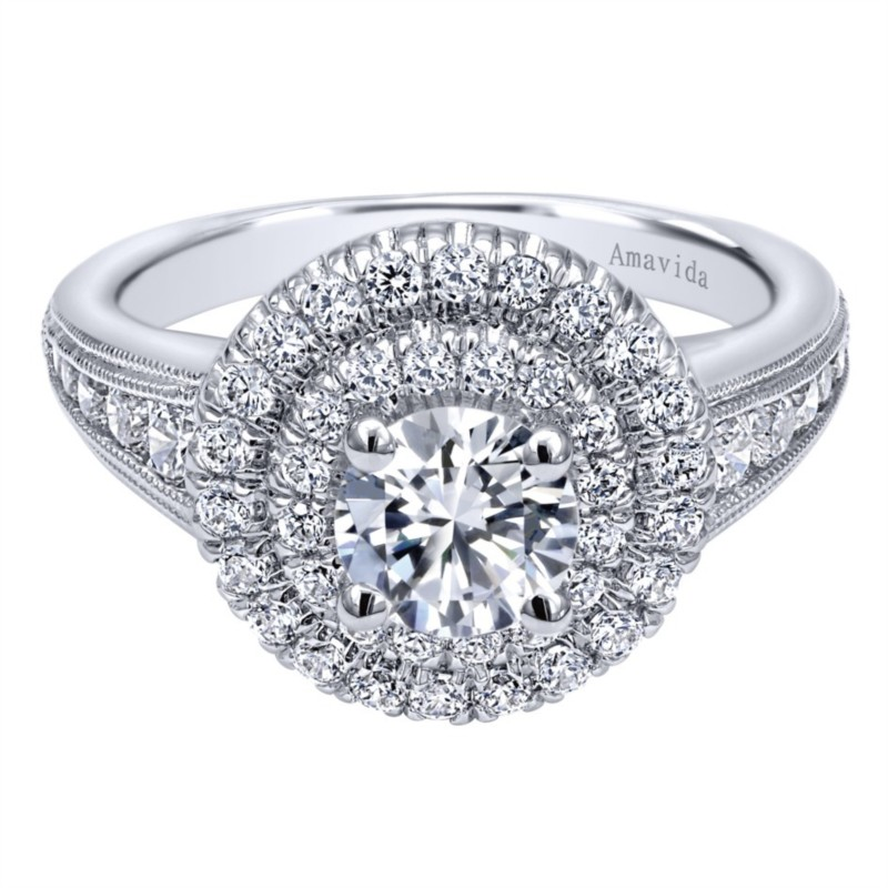Gabriel & Co | 14K White Gold Double Pavé Round Diamond Engagement Ring | Style No. 001-652-00006 ER10451W44JJ