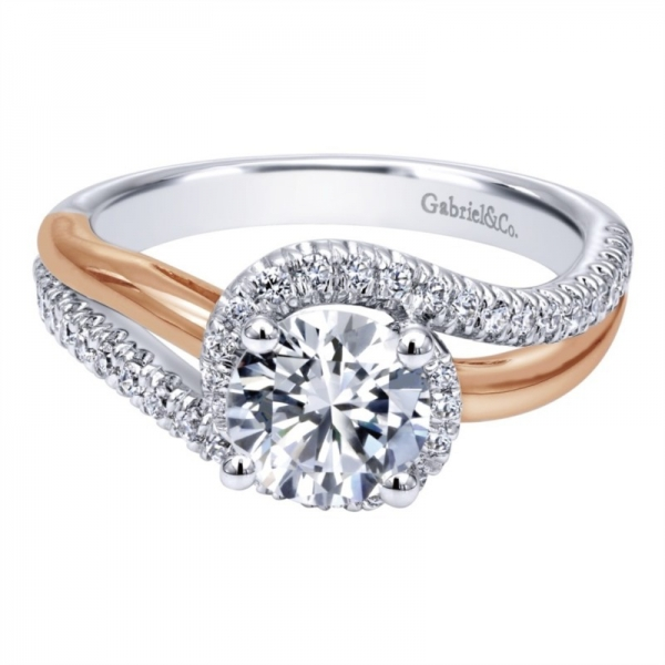 Gabriel & Co | 14K white and rose gold round diamond ring | Style No. 001-652-00328 ER10308T44JJ