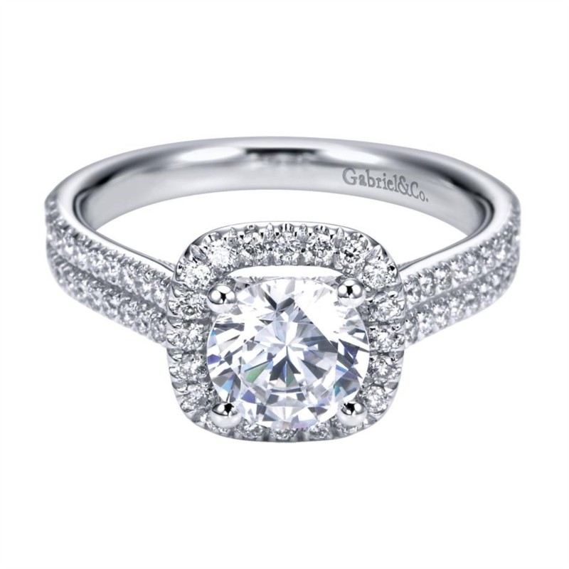 Gabriel & Co | 14K White Gold Pavé Diamond Halo engagement ring | Style No. 001-652-00025 ER6984W44JJ