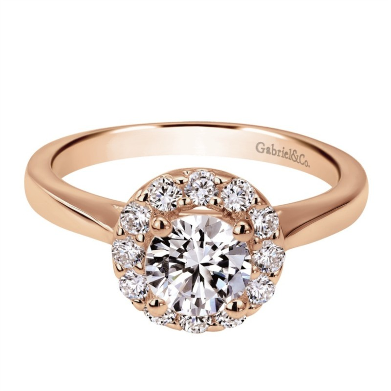 Gabriel & Co. | 14K Rose Gold Round Diamond Halo engagement ring setting | Style No. 001-652-00037 ER7494K44JJ