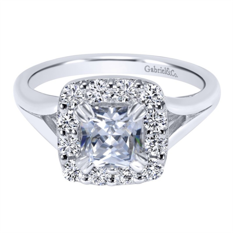 Gabriel & Co | 14K White gold cushion halo diamond engagement ring setting | Style No. 001-652-00242 ER10930W44JJ
