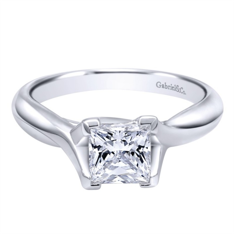 Gabriel & Co | 14K White Gold Trellis Solitaire Engagement Ring Setting | Style No. 001-652-00243 ER10762W4JJJ