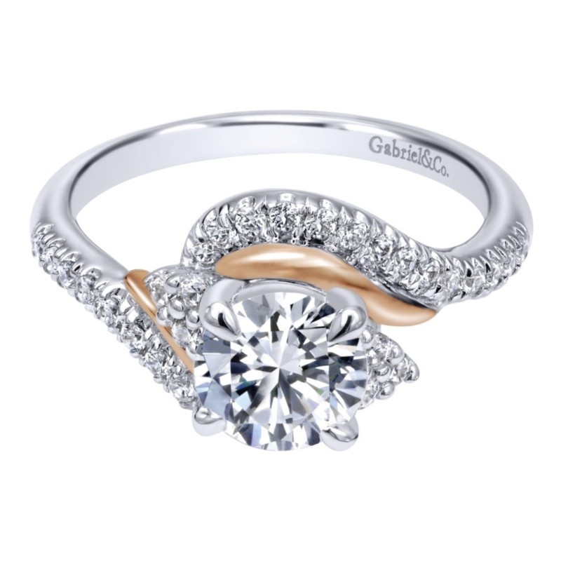 Gabriel & Co | 14K White and Rose Gold Sculpted Halo Diamond Setting | Style No. 001-652-00247 ER10304T44JJ