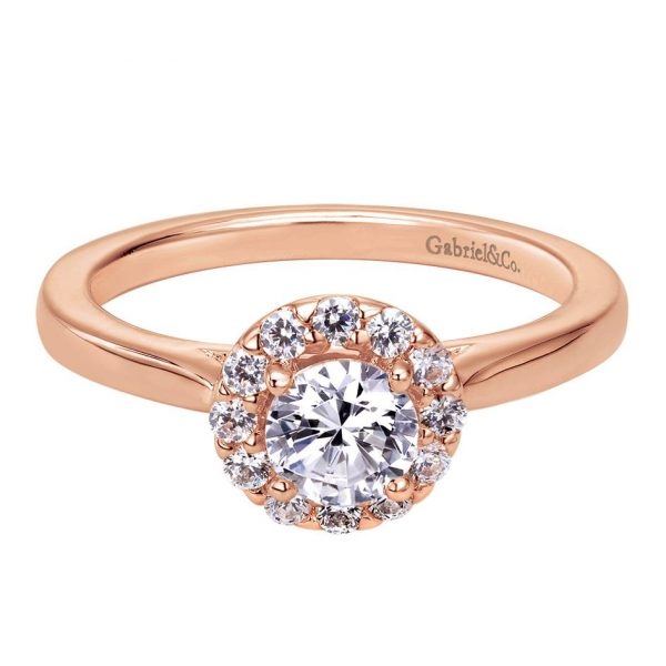 Gabriel & Co | 14K Rose gold halo diamond engagement ring | Style No. 001-652-00259 ER7497K44JJ
