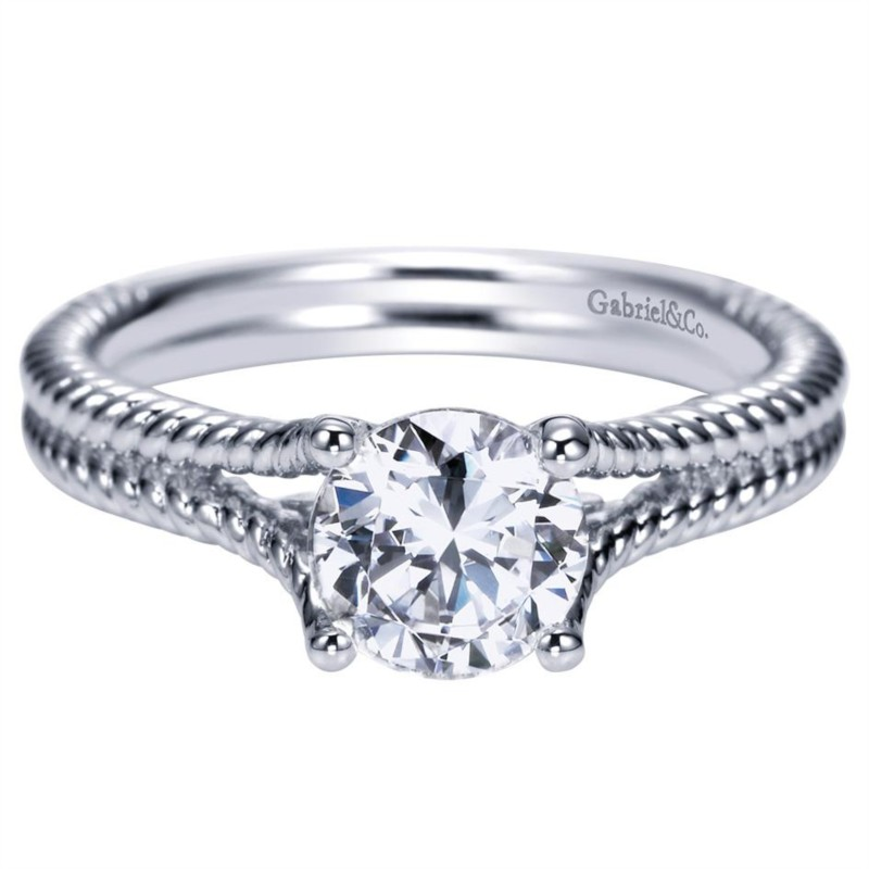 Gabriel & Co | 14K White Gold Split Shank Twisted Rope Solitaire Engagement Ring | Style No. 001-652-00264 ER8692W4JJJ