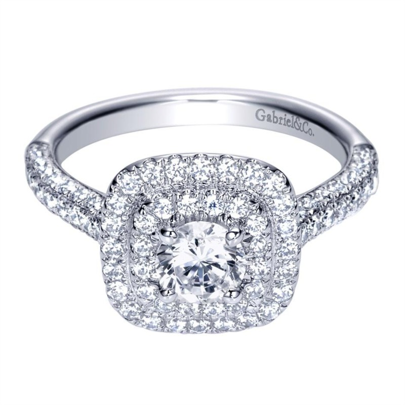Gabriel & Co | 14K White gold cushion shaped halo diamond engagement ring | Style No. 001-652-00270 ER8211W44JJ