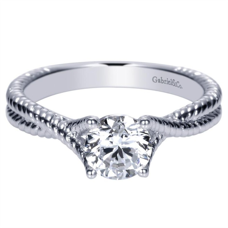 Gabriel & Co | 14K White Gold Twisted Rope Solitaire Engagement Ring | Style No. 001-652-00272 ER8843W44JJ
