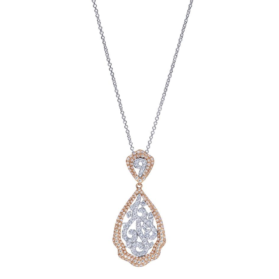 Gabriel & Co | White and Rose Gold Pavé Diamond Filigree Pendant | Style No. 001-652-00277 NK4189T44JJ