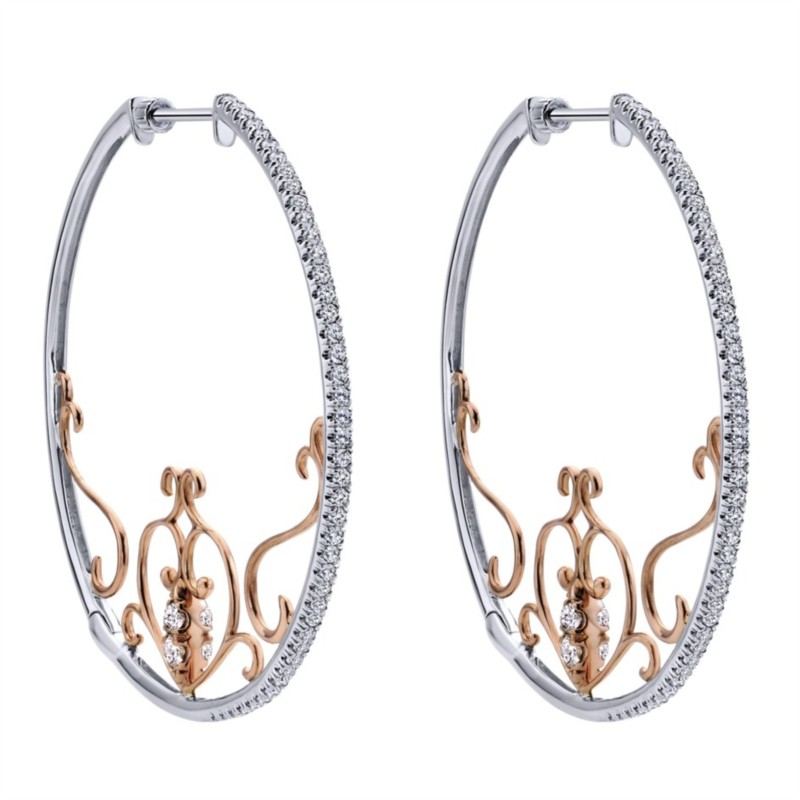 Gabriel & Co | 14K White & Rose Gold Pavé Diamond Hoop Earrings | Style No. 001-652-00280 EG12513T45JJ