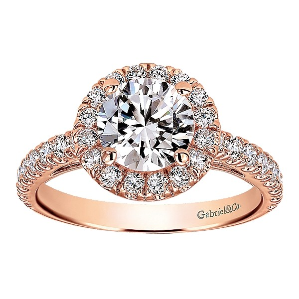 Gabriel & Co | 14K White Gold Cushion Halo Diamond Setting for Round Engagement Ring | Style No. 001-652-00546 ER8211W44JJ