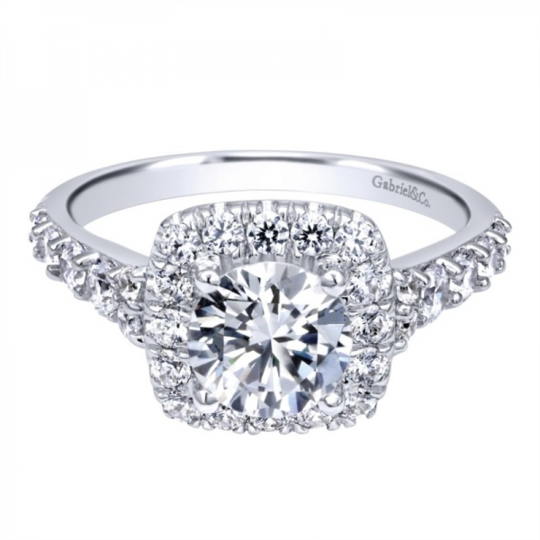 Gabriel & Co | 14K White Gold Round Center Halo Diamond Setting | Style No. 001-652-00675 ER10287W44JJ