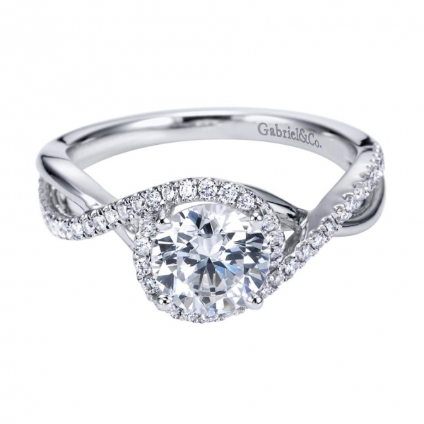 Gabriel & Co | 14K White Gold Pavé Diamond Halo Ring | Style No. 001-652-00687 ER7804W44JJ