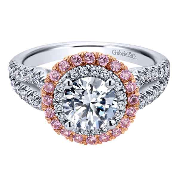 Gabriel & Co | 14K White & Rose Gold Halo Setting with Pink Sapphires | Style No. 001-652-00661 ER10177T44PS