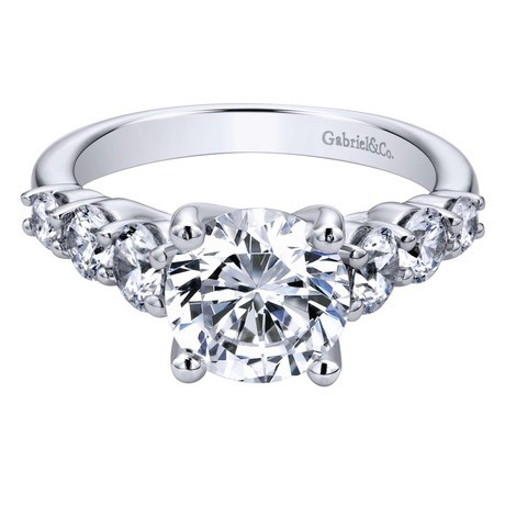 Gabriel & Co | 14K White Gold Cushion Halo Ring Setting | Style No. 001-652-00665 ER7252W44JJ