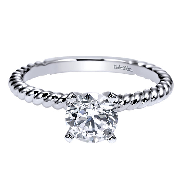Gabriel & Co | 14K White Gold & Round Diamond Engagement Ring | Style No. 001-652-00756
