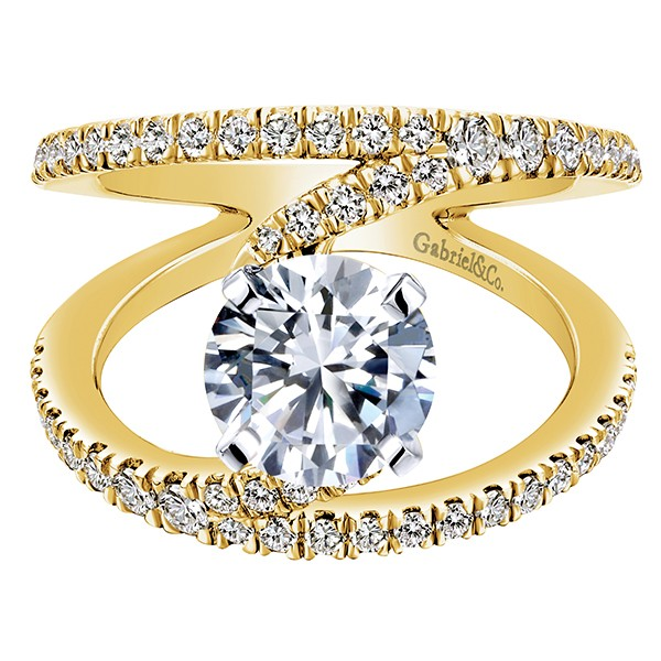 Gabriel & Co | 14K White Gold Halo Diamond Engagement Ring Setting | Style No. 001-652-00759 ER7265W44JJ