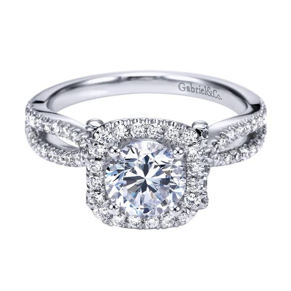 Gabriel & Co | 14K White Gold Cushion Halo Diamond Ring Setting | Style No. 001-652-00762 ER7806W44JJ