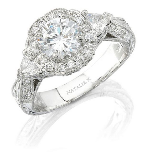 Natalie K | 14K White Gold Diamond Halo Engagement Ring with Trillion Diamond Accents | Style No. 001-707-00002