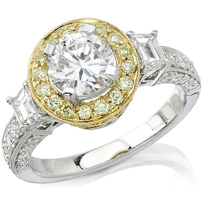 Natalie K | 14K White & Yellow Gold Pavé Halo Diamond Setting | Style No. 001-707-00012