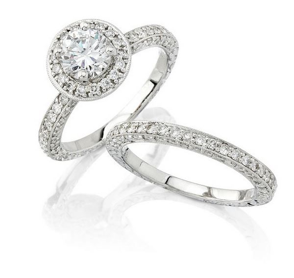 Natalie K | 18K White Gold Pavé Diamond Round Center Setting | Style No. 001-707-00083