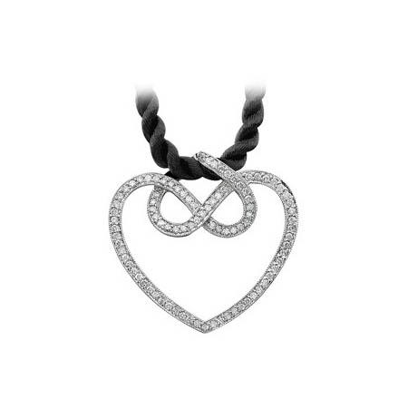 Natalie K | 14K White Gold Pavéé Diamond Heart Pendant | Style No. 001-707-00099