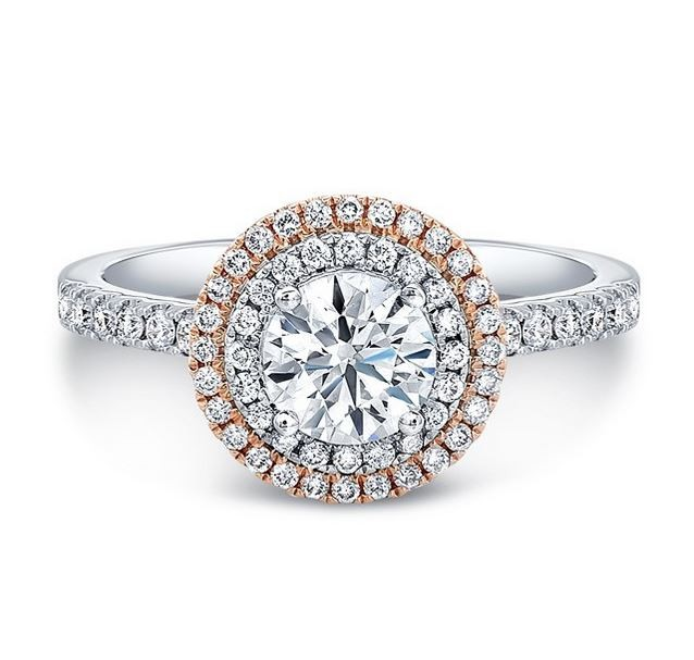 Natalie K | 18K White & Rose Gold Double Halo Diamond Setting | Style No. 001-707-00166
