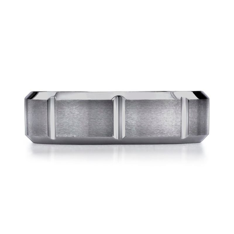 Benchmark | 7mm Tungsten Beveled Edge Ring with Vertical Grooves | Style No. 001-709-01340 CF67449TG