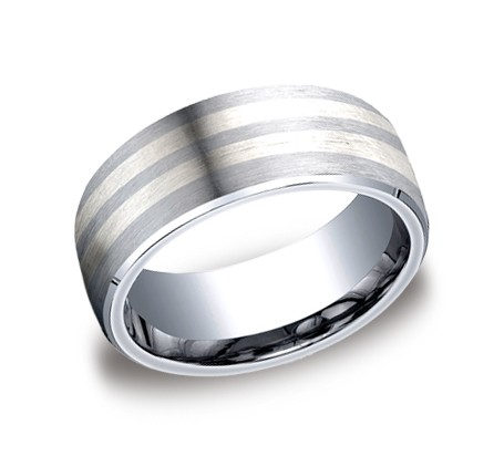 Benchmark | 8mm Cobalt Chrome & Silver Men's Ring | Style No. 001-709-01160 CF68461CC