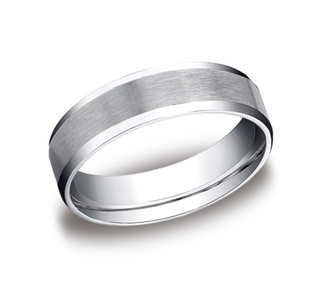Benchmark | 14K White Gold Satin Finish Beveled Edge Ring | Style No. 001-709-01303 CF68416