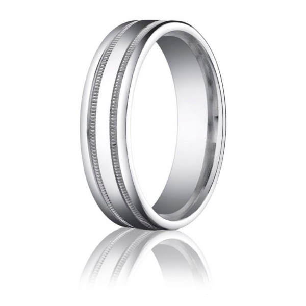Benchmark | 6mm Palladium Ring with Padis Jewelry - Milgrain Rings | Style No. 001-709-01374 RECF7601