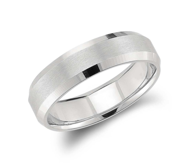 Benchmark | 14K White Gold Satin Finish Beveled Edge Band | Style No. 001-709-01355 CF64416