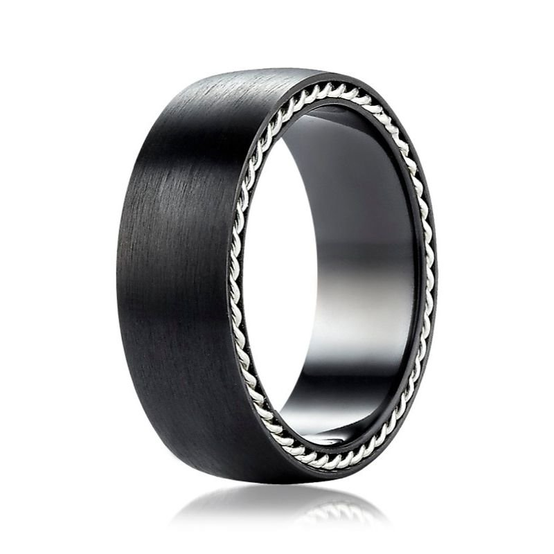 Benchmark | 7.5mm Black Titanium Ring with Silver Rope Design | Style No. 001-709-01619 TICF775400BKT