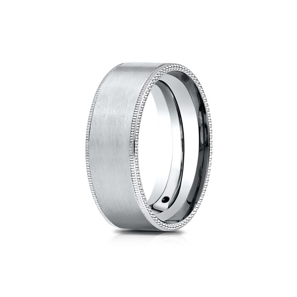Benchmark | 14K White Gold 8mm Satin Finish Men's Ring with Beaded Detail | Style No. 001-709-01634 CF6843414KW10