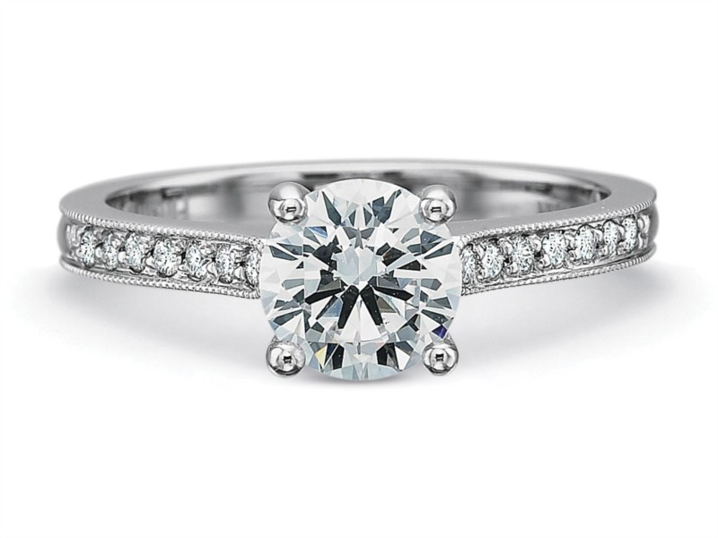 Precision Set Engagement Ring | Platinum Pavé Diamond Ring with Milgrain | Style No. 001-711-00255