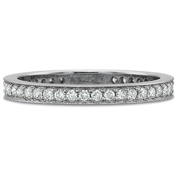Precision Set Wedding Ring | Platinum Pavéé Padis Jewelry - Milgrain Rings Eternity Diamond Band | Style No. 00