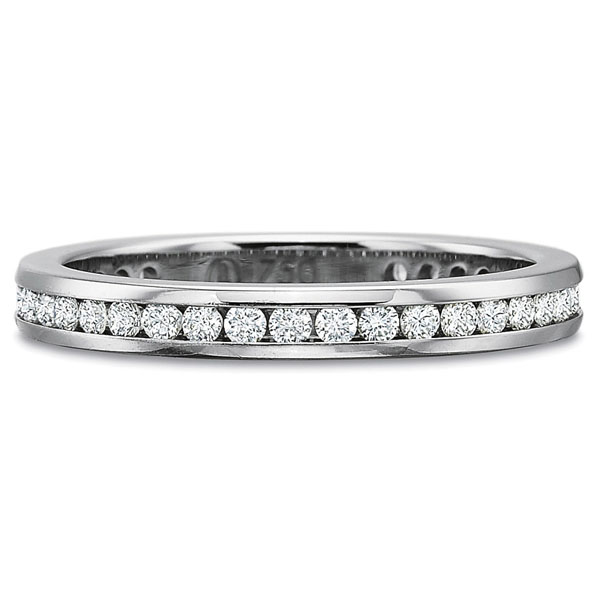 Precision Set Wedding Ring | 18K White Gold Channel Set Round Eternity Diamond Ring | Style No. 001-711-00420