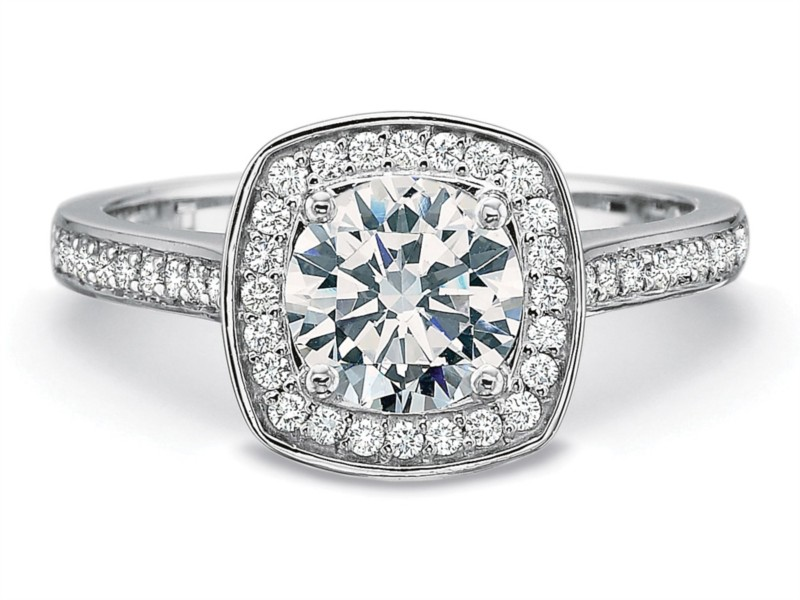 Precision Set Engagement Ring | 18K White Gold Halo Diamond Engagement Ring | Style No. 001-711-00519