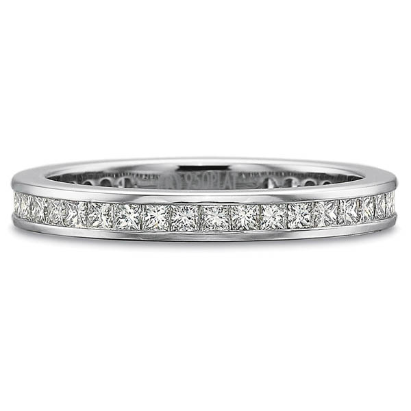 Precision Set Wedding Ring | 18K White Gold Channel Set Princess Eternity Diamond Ring | Style No. 001-711-00572