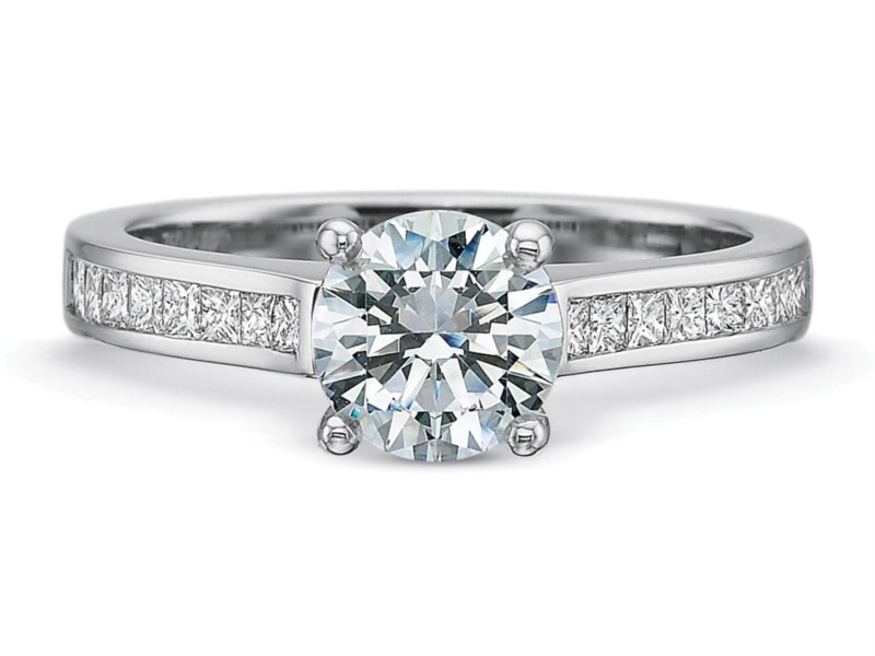 Precision Set Engagement Ring | 18K White Gold Channel Set Princess Diamond Setting | Style No. 001-711-00580