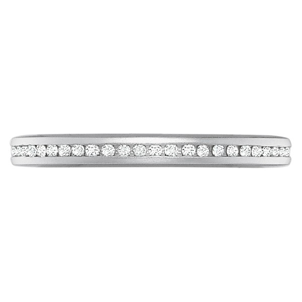 Precision Set Wedding Ring | 18K White Gold Petite Channel Set Round Diamond Ring | Style No. 001-711-00582