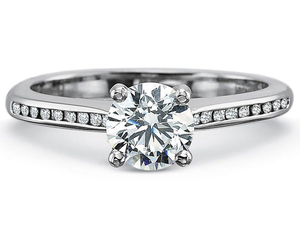 Precision Set Engagement Ring | 18K White Gold Channel Set Diamond Engagement Ring | Style No. 001-711-00589