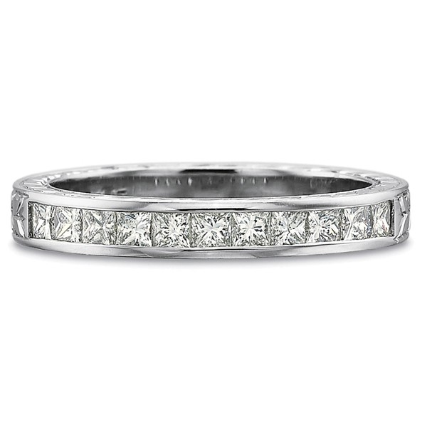 Precision Set Wedding Ring | 18K White Gold Channel Set Princess Diamond Wedding Ring | Style No. 001-711-00633