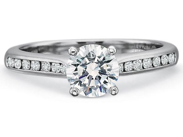 Precision Set Engagement Ring | 18K White Gold Channel Set Diamond Ring with Matte Finish | Style no. 001-711-00690