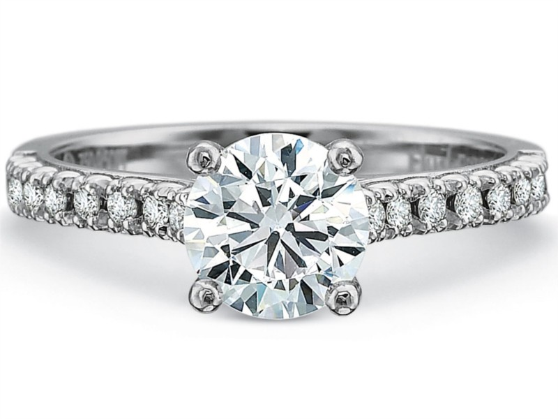 Precision Set Engagement Ring | 18K White Gold Pavé Diamond Flush Fit Ring | Style No. 001-711-00693