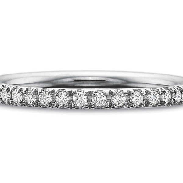 Precision Set Wedding Ring | 18K White Gold Prong Set Round Eternity Diamond Band | Style No. 001-711-00727
